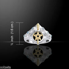 WITCHES BROOMSTICK RING ~ S/S GOLD AMETHYSTS MOONSTONE