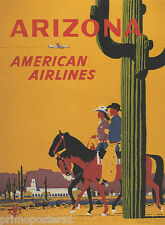 ARIZONA DESERT RESORT COWBOY COWGIRL RIDING HORSE TRAVEL VINTAGE POSTER REPRO