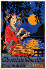 JAPANESE JAPAN CHOCOLATE AMATLLER LUNA FULL MOON REFLECTION VINTAGE POSTER REPRO