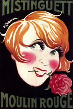 MISTINGUETT FRENCH ACTRESS SINGER FACE ROSE MOULIN ROUGE VINTAGE POSTER REPRO