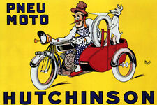 PNEU MOTO HUTCHINSON CLOWN DOG VINTAGE REPRO POSTER