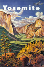 AIRPLANE YOSEMITE VALLEY NATIONAL PARK CALIFORNIA TRAVEL VINTAGE POSTER REPRO