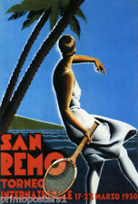 TENNIS CUP 1930 SAN REMO ITALY ITALIA TORNEO SPORT TRAVEL VINTAGE POSTER REPRO