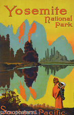 YOSEMITE AMERICAN NATIONAL PARK INDIAN USA TRAVEL TOURISM VINTAGE POSTER REPRO