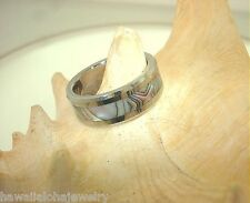 8MM TUNGSTEN CARBIDE ABALONE SHELL INLAY RING 8.0-14.0