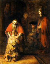 RETURN OF THE PRODIGAL SON RELIGION PAINTING BY REMBRANDT REPRO ON PAPER CANVAS
