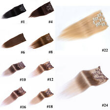 "New Women Lot 15""~36"" Remy Human Hair Clip In Extensions Straight 75g 100g 140g"
