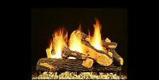 "18"" Canyon Oak Vented Fireplace Gas Logs COMPLETE Set W/ Auto Start Pilot NG LP"