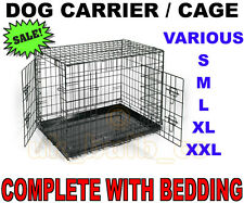 Folding Dog pet Animal Crate Cage Carrier Folds flat & Bed Bedding S M L XL XXL