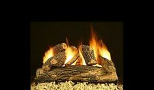 "24"" Cascade Oak Vented Fireplace Gas Logs COMPLETE Safety Pilot and Remote NG LP"