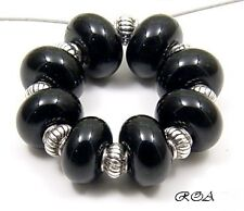 ROA Lampwork 8 Matte Or Opaque Black 5x8 mm Spacer Handmade Art Glass Beads SRA