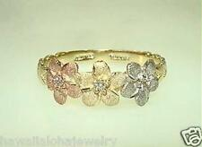 7mm Hawaiian Tri-Color 14k Gold DC 3 Matted Cutout Plumeria Flower Maile CZ Ring