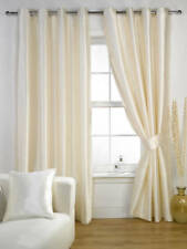 Cream Faux Silk Ravello Fully Lined Eyelet Curtains