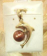13.5mm Hawaiian 14k Gold Dolphin Cultured Freshwater Chocolate Pearl Pendant