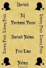 A4 Parchment Poster Sherlock Holmes Conan Doyle First Lines Moriarty (List 2)