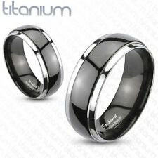 Solid Titanium 2-Tone Black Dome Comfort Fit Ring Wedding Band Size 5-13 T75