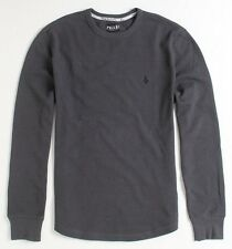 Volcom Stone Eleventh Charcoal Gray Solid Mens Thermal Shirt T-Shirt New NWT