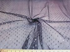 Discount Fabric Black Lace Tulle Metallic Silver Coin Dot LC647