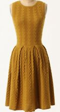 Wool Flared & Cabled Knitted Dress Size Large Dark Yellow NW ANTHROPOLOGIE Tag