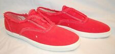 """NEW KEDS champion """"champ"""" POPPY RED CANVAS SHOES youth girls FRAYED EDGES & FAB!"""