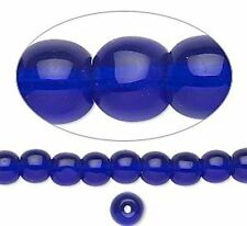 "36"" Strand Glass Round Transparent Cobalt Blue Beads *Choose from 4,6,8 OR 10mm"