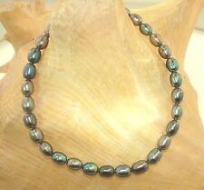 """4.5MM 1-STRAND CULTURED FRESHWATER PEACOCK OVAL PEARL BRACELET 7""""-8.5"""" SP #2"""