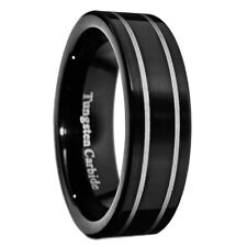 5mm Black Tungsten Carbide Ring Wedding PipeCut Silver Strips Men Band Size 5-10