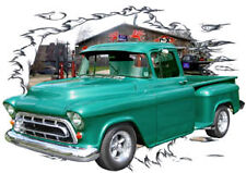 1957 Green Chevy Pickup Truck b Custom Hot Rod Garage T-Shirt 57, Muscle Car Tee