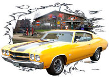 1970 Yellow Chevy Chevelle SS Super Sport HotRod Garage T-Shirt 70, Muscle Car T