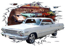 1963 White Chevy Impala Custom Hot Rod Diner T-Shirt 63, Muscle Car Tee's