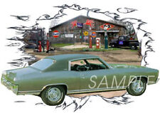 1970 Green Chevy Monte Carlo Custom Hot Rod Garage T-Shirt 70, Muscle Car Tee's
