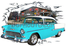 1955 Blue Chevy Bel Air HardTop Custom Hot Rod Diner T-Shirt 55, Muscle Car Tee