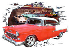 1955 Red Chevy Bel Air HardTop c Custom Hot Rod Diner T-Shirt 55, Muscle Car T