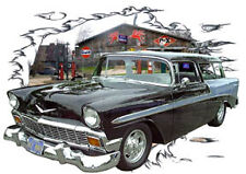 1956 Black Chevy Nomad Station Wagon Hot Rod Garage T-Shirt 56, Muscle Car Tee's