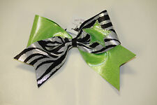 Custom Design TEXAS Size Rhinestone Star Cheer Bow  Zebra Cheerleading Bow