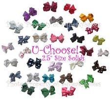 "U-Choose 2.5"" Pr of Bows 4 AAB Squeaky Shoes or Hair 1-Prong Clip SOLID COLORS!"