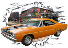 1970 Orange Plymouth Road Runner b Custom HotRod Garage T-Shirt 70, Muscle Car T
