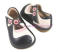 Squeaky Shoe Mary Jane Navy White Swirl Pink Flowers Original Design Super Cute!