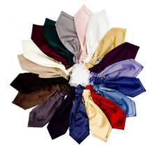 RUCHE TIE CRAVAT SATIN VARIOUS COLOURS PRE-TIED SCRUNCH FORMAL WEDDING GROOM NEW