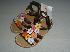 Gymboree ALOHA SUNSHINE Brown Mini Blossoms Flower Strappy Sandals Shoes NWT