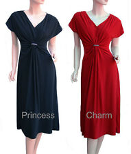 Cocktail Races Mother of Bride Evening Drape Dress Red Black Size 26 to 12 New