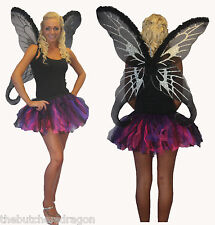 Tutu & Fairy Black Wing Set Fancy Dress Halloween Fae Gothic Naughty Fairies