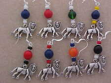 Lion Team Mascot -Pewter Charm Earrings School Colors  Football  Soccer Lacrosse