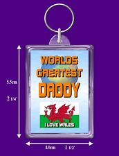 Welsh Flag Worlds Greatest Keyring - Range Auntie to Wife - I Love Wales Gift