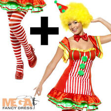 Boo Boo the Clown + Tights Ladies Fan Fancy Dress Circus Costume + Hat UK 8-16