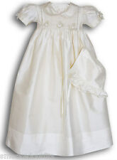 New Girls Silk baby Christening Gown short sleeve hand smocked 17049