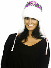 Knitted Pilot/Aviator Bomber Hat with Earflaps – Flower and Stripes Design