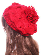 Women's Winter Fashion Knit Visor Beanie Cap with Crochet Flower