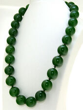 """Rare Big 16mm Necklace Olive Green Jade Round Gemstone Beads Knotted 18"""" 24"""" 36"""""""