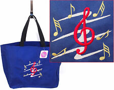 G Treble Clef & Music Notes Tote Bag Monogram + Name School Class Teacher Gift